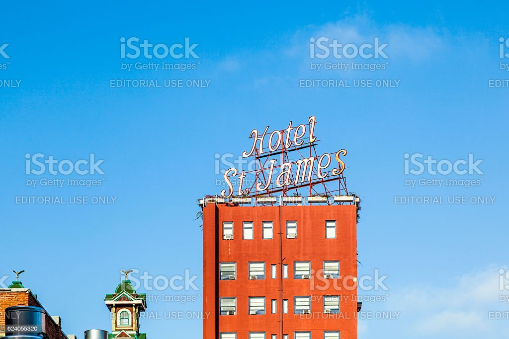 facade of historic hotel St. James in gaslamp district stock photo