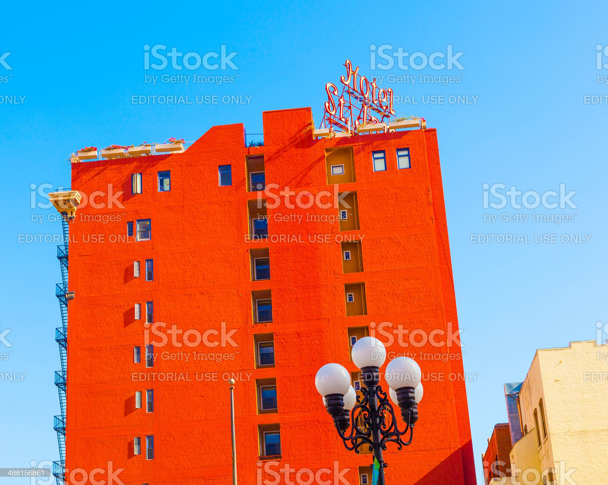 facade of historic hotel St. James in gaslamp quarter royalty-free stock photo