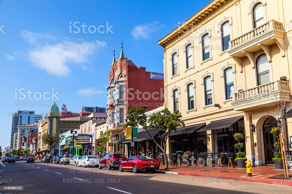 facade of historic houses in San Diego stock photo