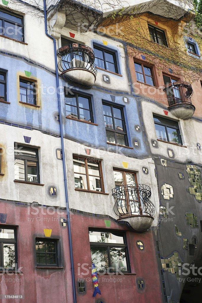 Facade of Hundertwasser house in Vienna - vertical royalty-free stock photo