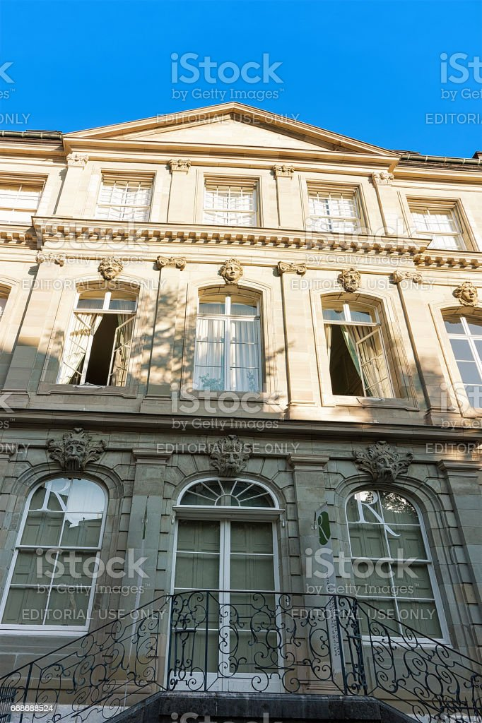 Facade of International museum of reformation at Geneva center Swiss stock photo