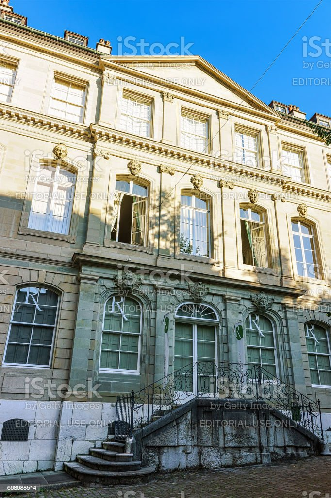 Facade of International museum of reformation Geneva Swiss stock photo