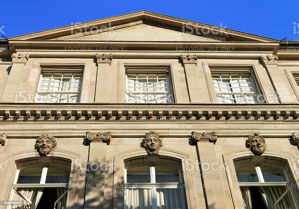 Facade of International museum of reformation in Geneva stock photo