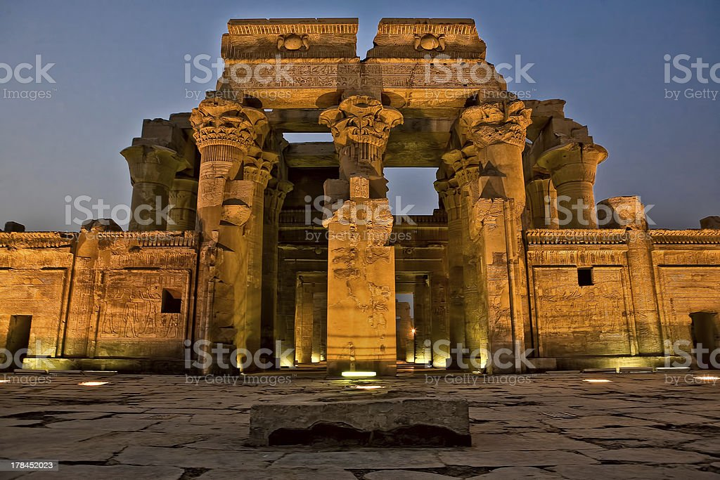 Facade of Kom Ombo Temple by night stock photo
