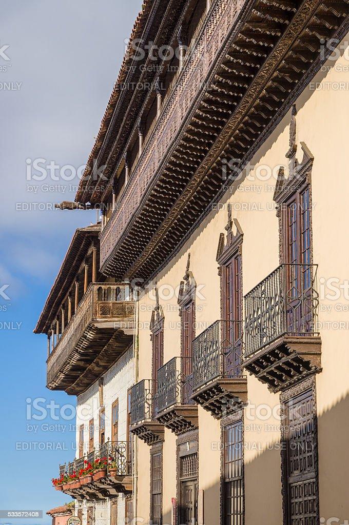 Facade of La Casa de los Balcones, Tenerife stock photo