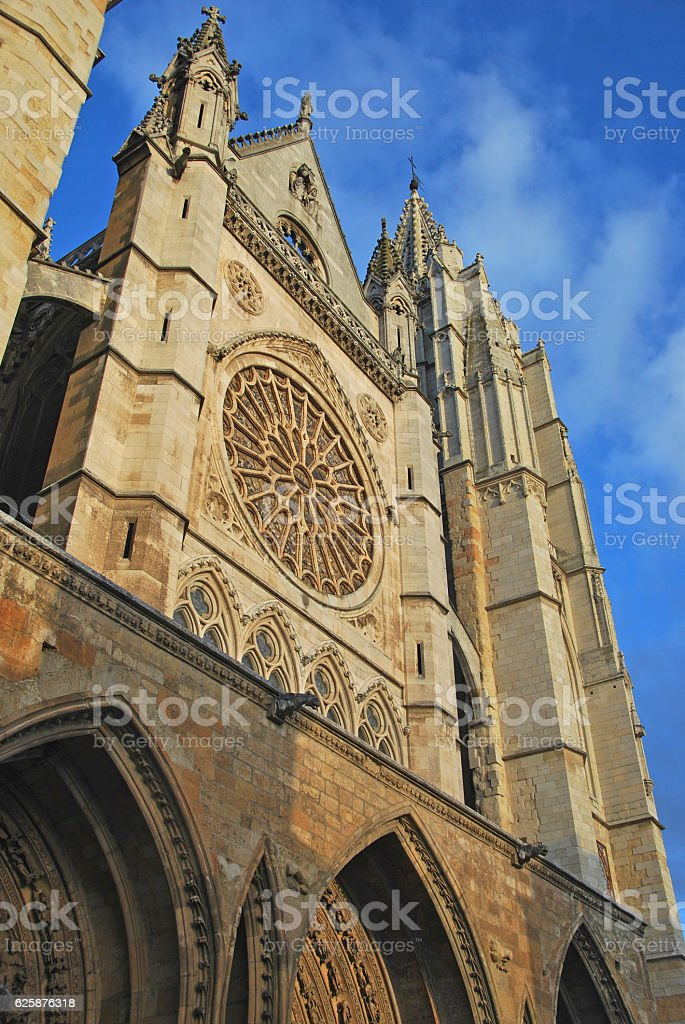 facade of Leon Cathedral stock photo