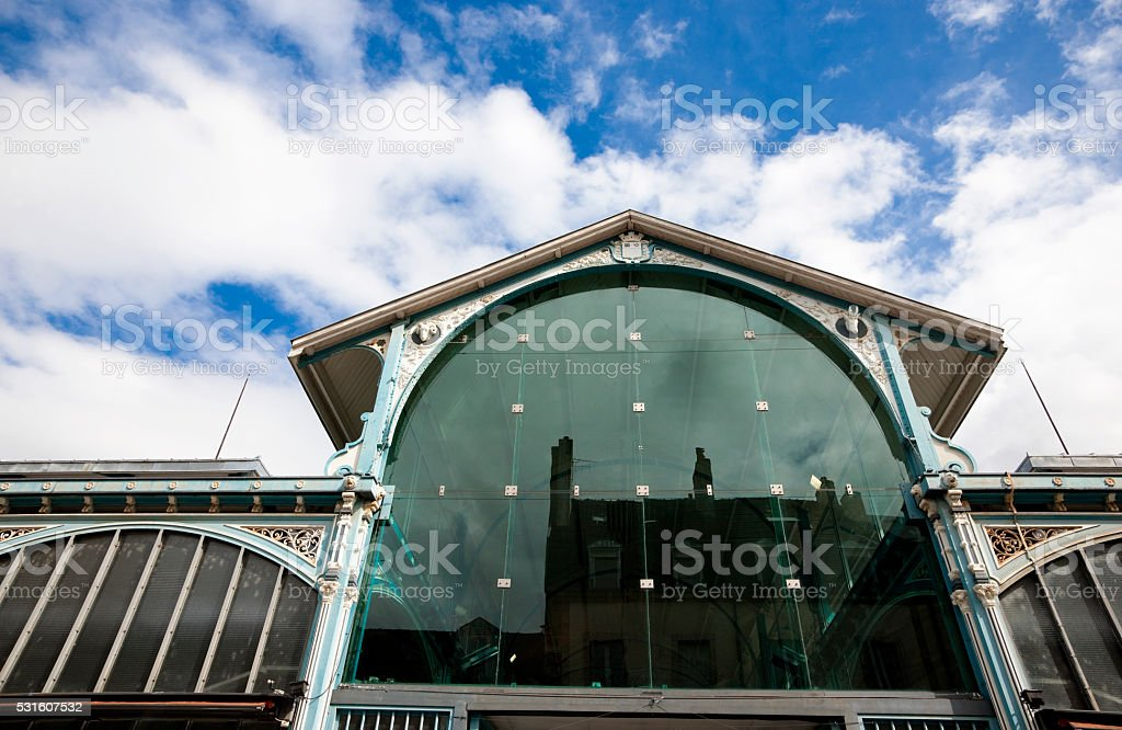 Facade of Les Halles covered market, Dijon, France stock photo