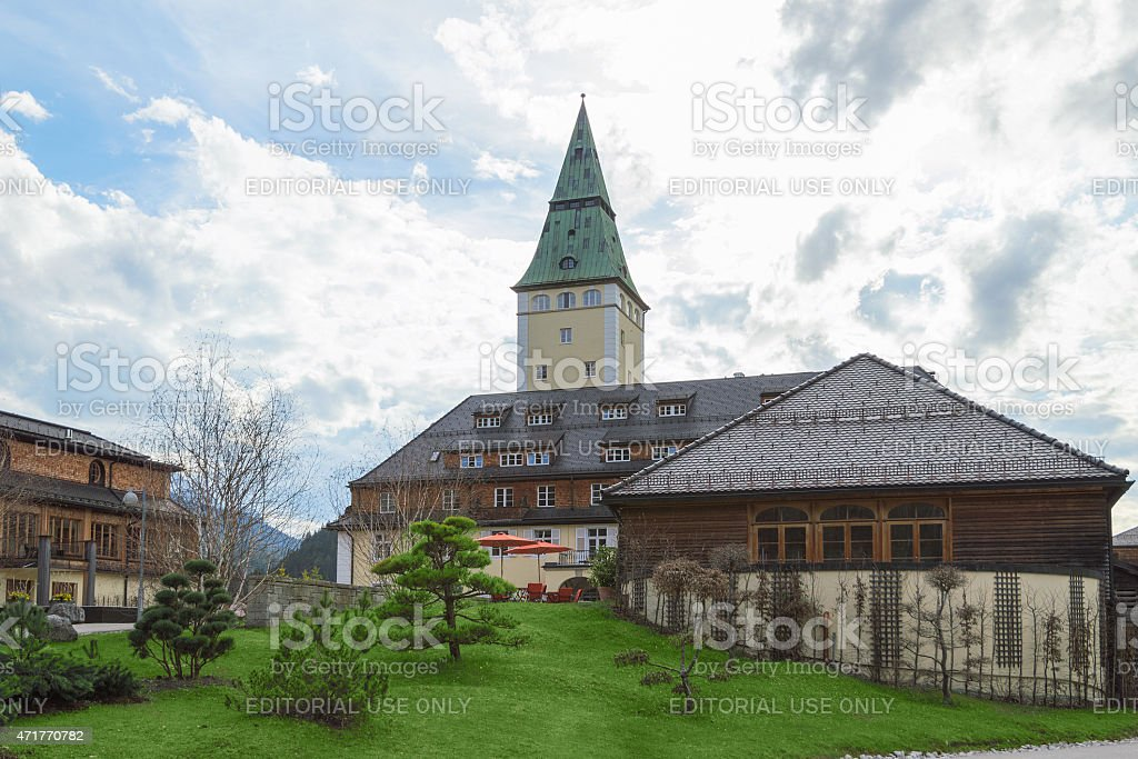 Facade of luxury hotel Elmau royal palace G7 summit 2015 stock photo