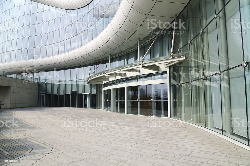 Facade of modern Business Center with glass doors stock photo