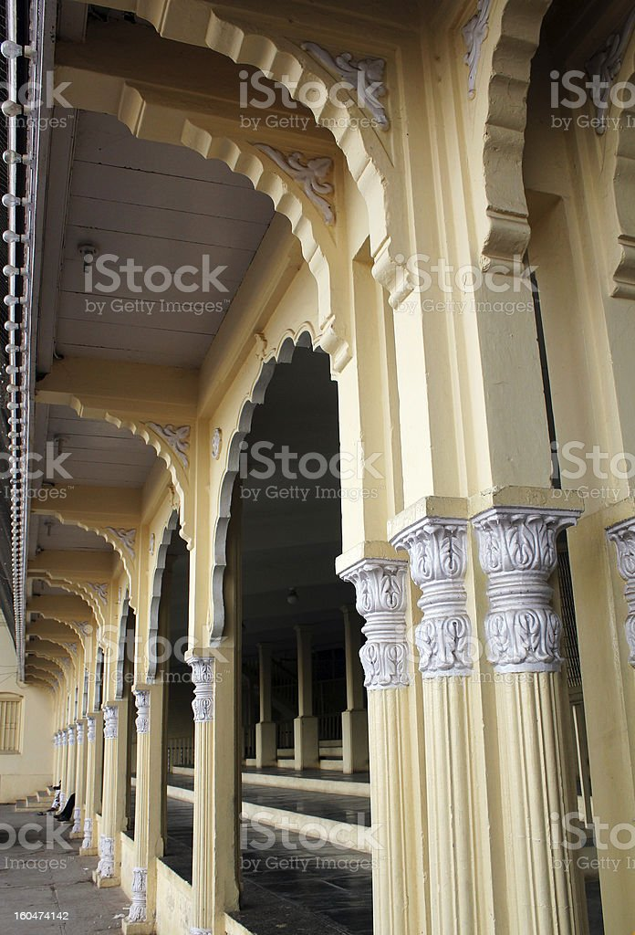 Facade of mysore palace with arches in indo-saracenic style. stock photo