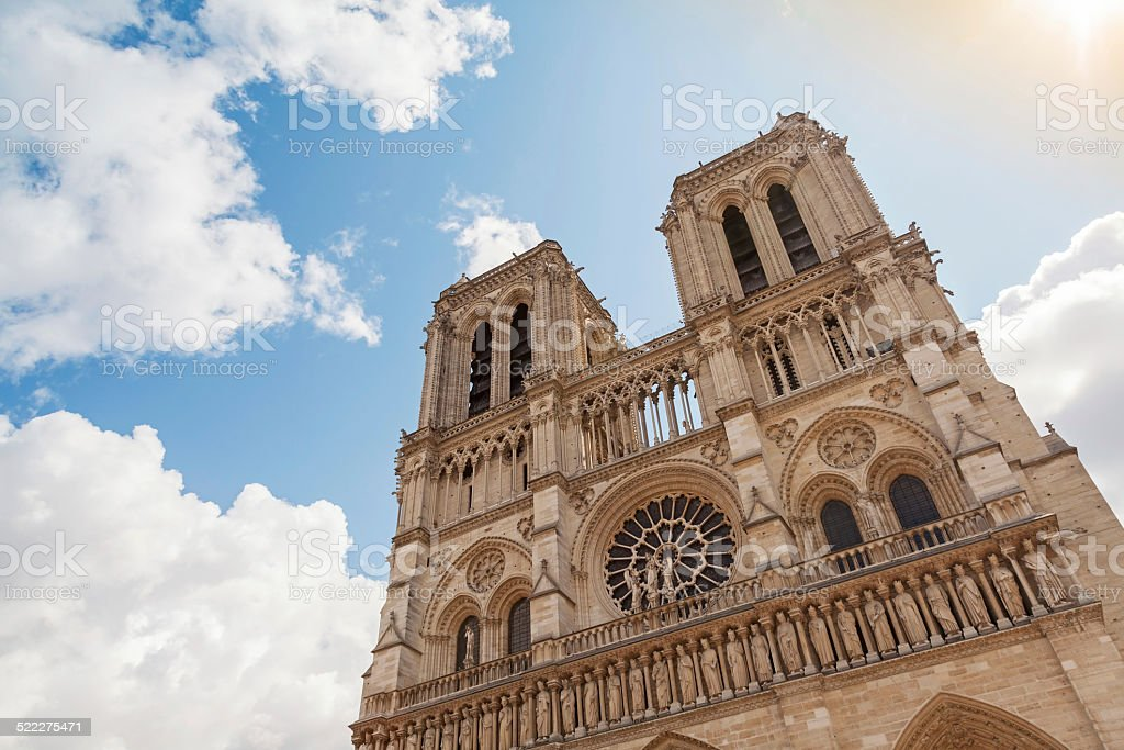 Facade of Notre Dame de Paris cathedral, France stock photo