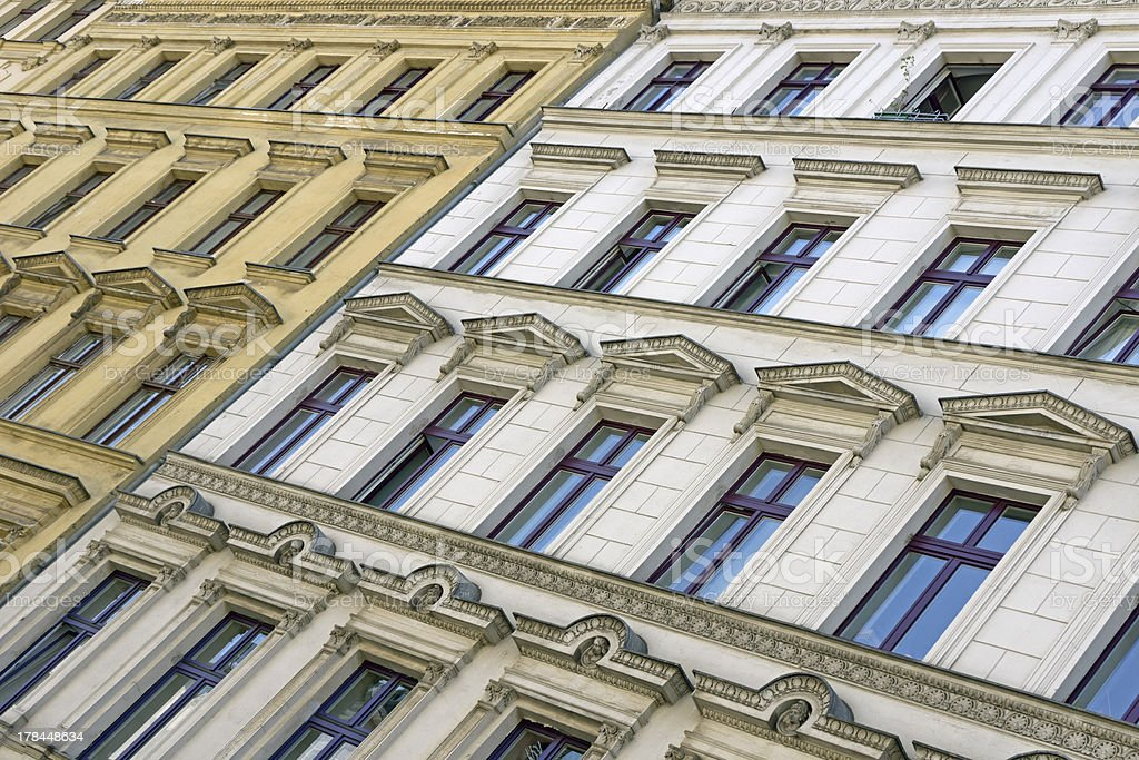 Facade of old apartment buildings in Berlin stock photo