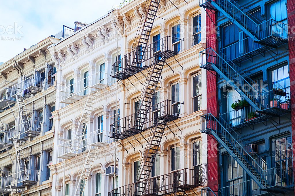 facade of old buildings in Soho, NYC stock photo
