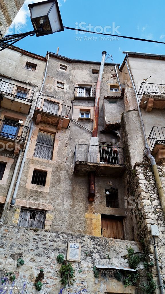 Facade of old buildings with fire. stock photo