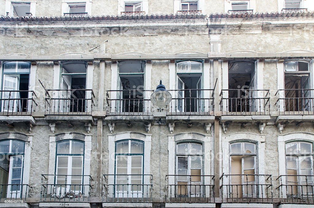 Facade of old house downtown Lisbon Portugal stock photo