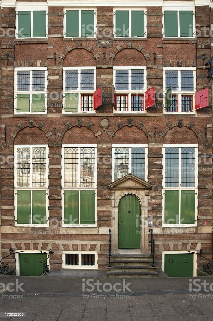 Facade of Old House in Amsterdam stock photo