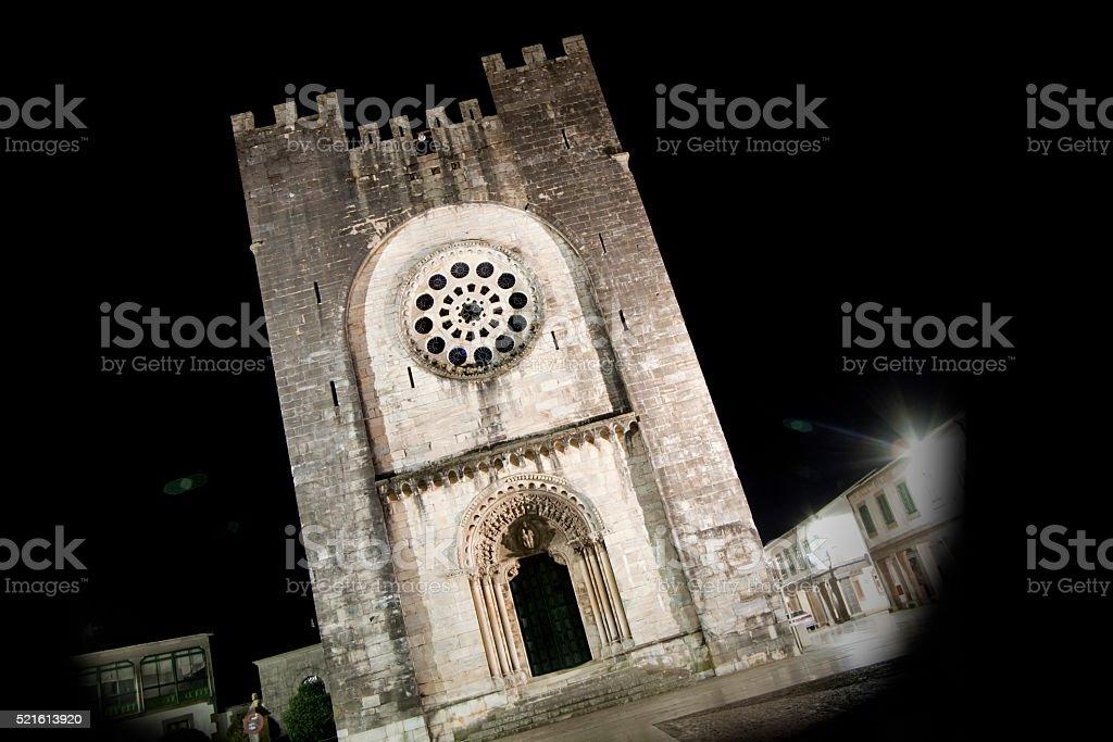 Facade of romanesque church, Portomarín, Galicia, Spain. stock photo