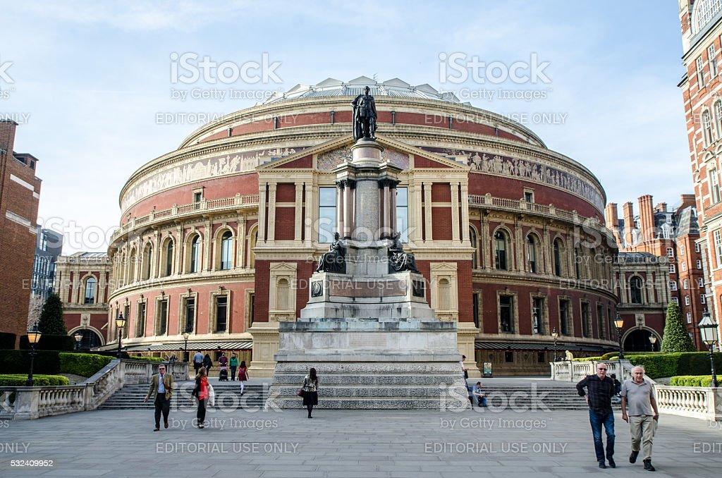 Facade of Royal Albert Hall with memorial stock photo