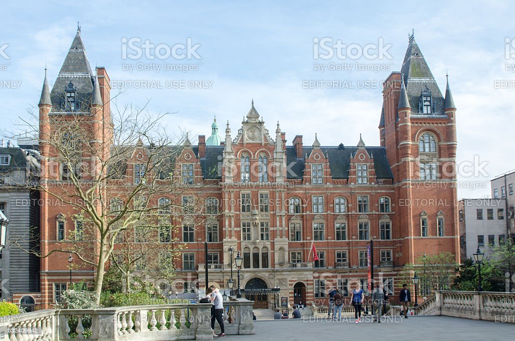 Facade of Royal College of Music of London stock photo