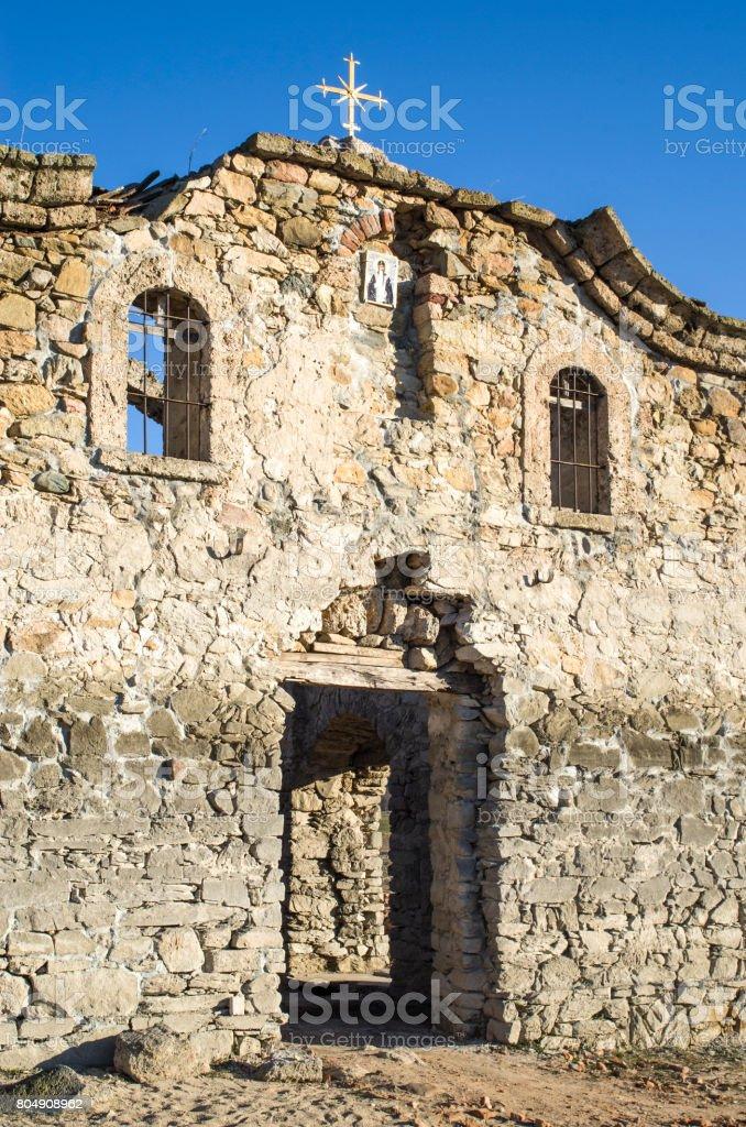 Facade of ruined rural church in dam Jrebchevo, Bulgaria stock photo