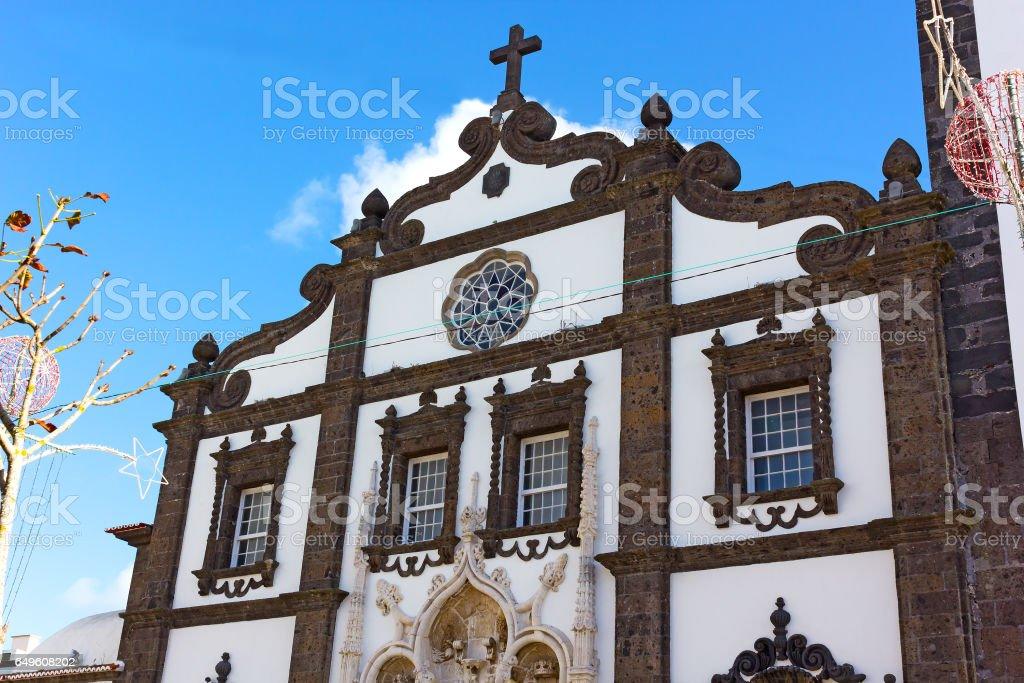 Facade of Saint Sebastian church in Ponta Delgada, Azores, Portugal. stock photo