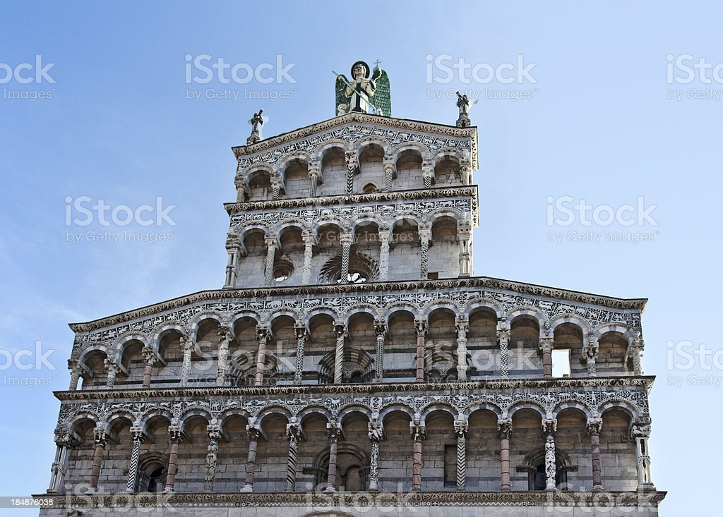 'Facade of San Michele in Foro church, Lucca, Italy' stock photo
