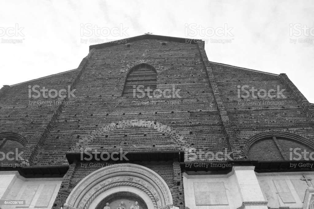 facade of san petronio church stock photo
