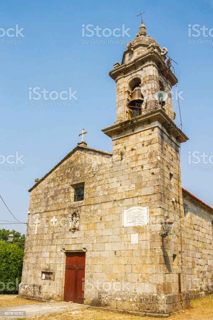 Facade of San Xoan church in Baion stock photo