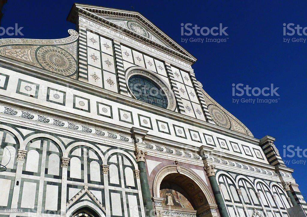 Facade of Santa Maria Novella church in Florence stock photo