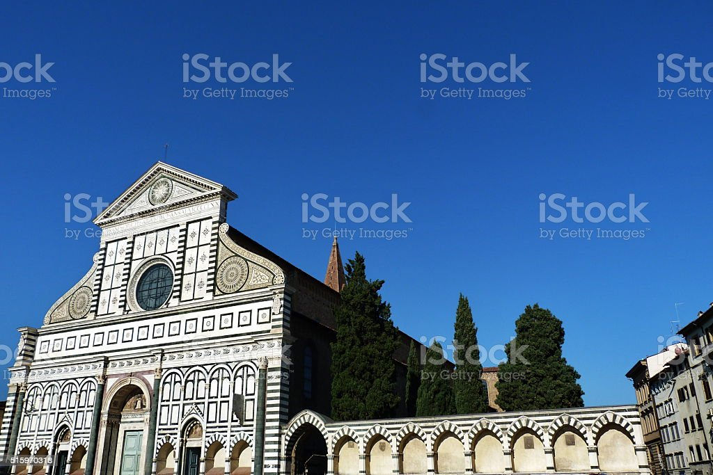 Facade of Santa Maria Novella church in Florence stock photo