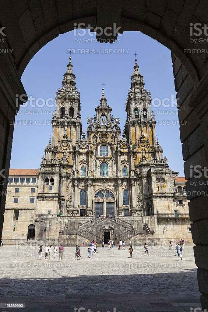 Facade of Santiago de Compostela cathedral royalty-free stock photo