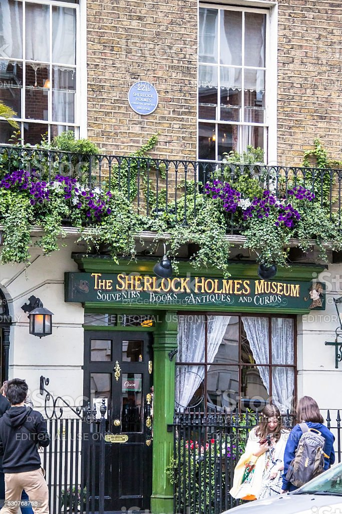 Facade of  Sherlock Holmes house and museum . London, UK stock photo
