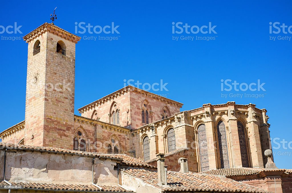 facade of St Mary Cathedral in Siguenza, Guadalajara, Spain. stock photo