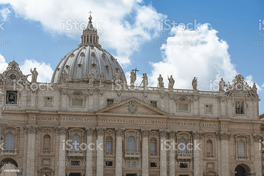 Facade of st. peter's basilica in Rome royalty-free stock photo