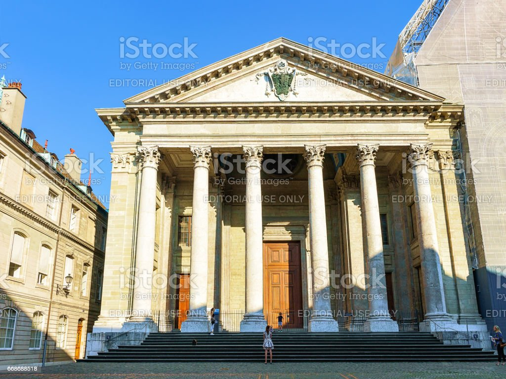 Facade of St Pierre Cathedral in old town Geneva Swiss stock photo