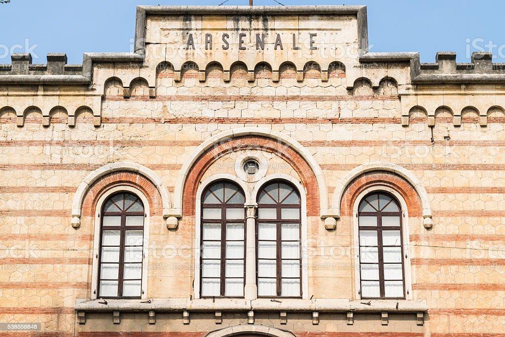 Facade of the Austrian arsenal in Verona, Italy. stock photo