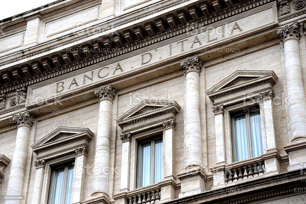 Facade of the Bank of Italy stock photo