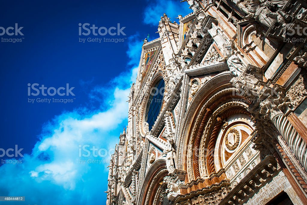 Facade of the cathedral in Siena stock photo