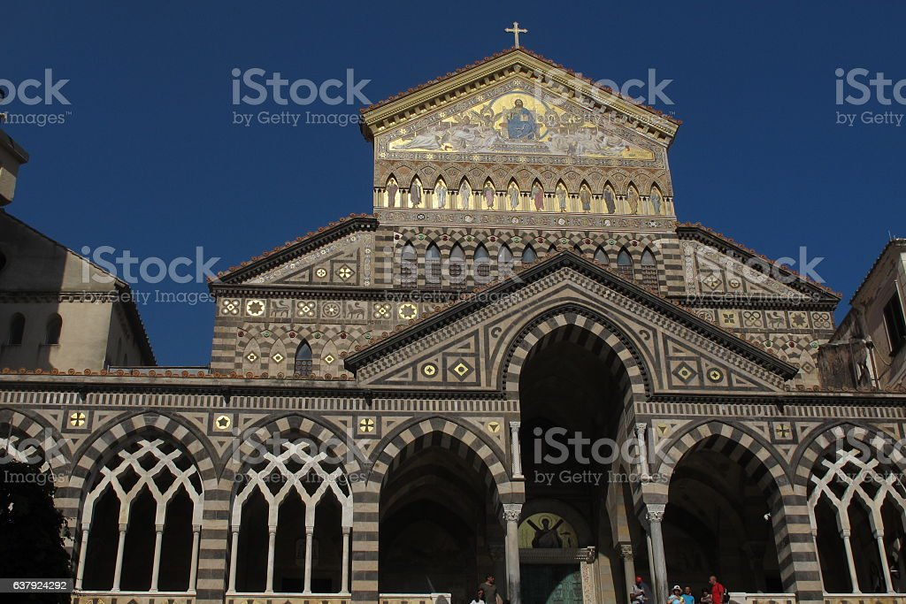 facade of the Cathedral of Amalfi stock photo
