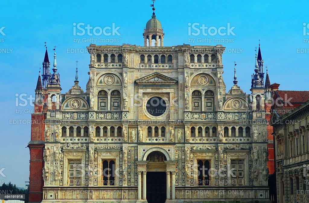 Facade of the Certosa di Pavia,Italy stock photo
