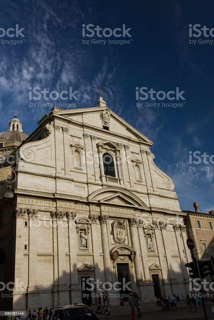 Facade of the Church of the Gesù stock photo