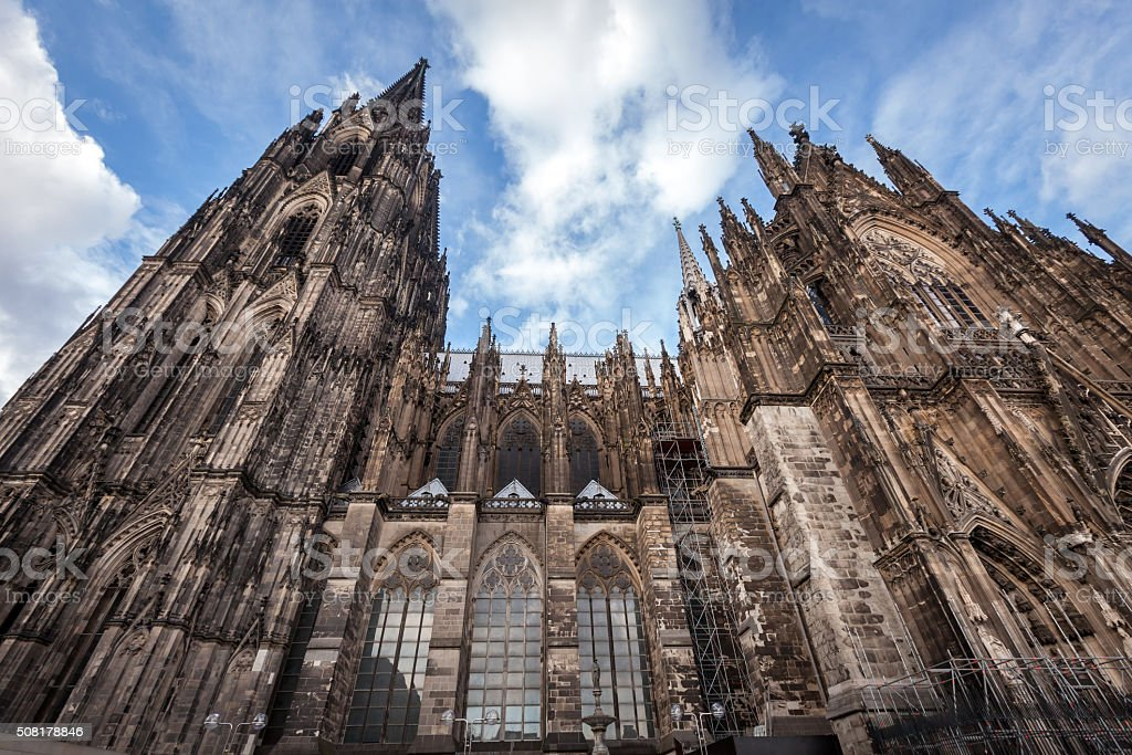 Facade of the Dom. World Heritage - Catholic Gothic cathedral stock photo