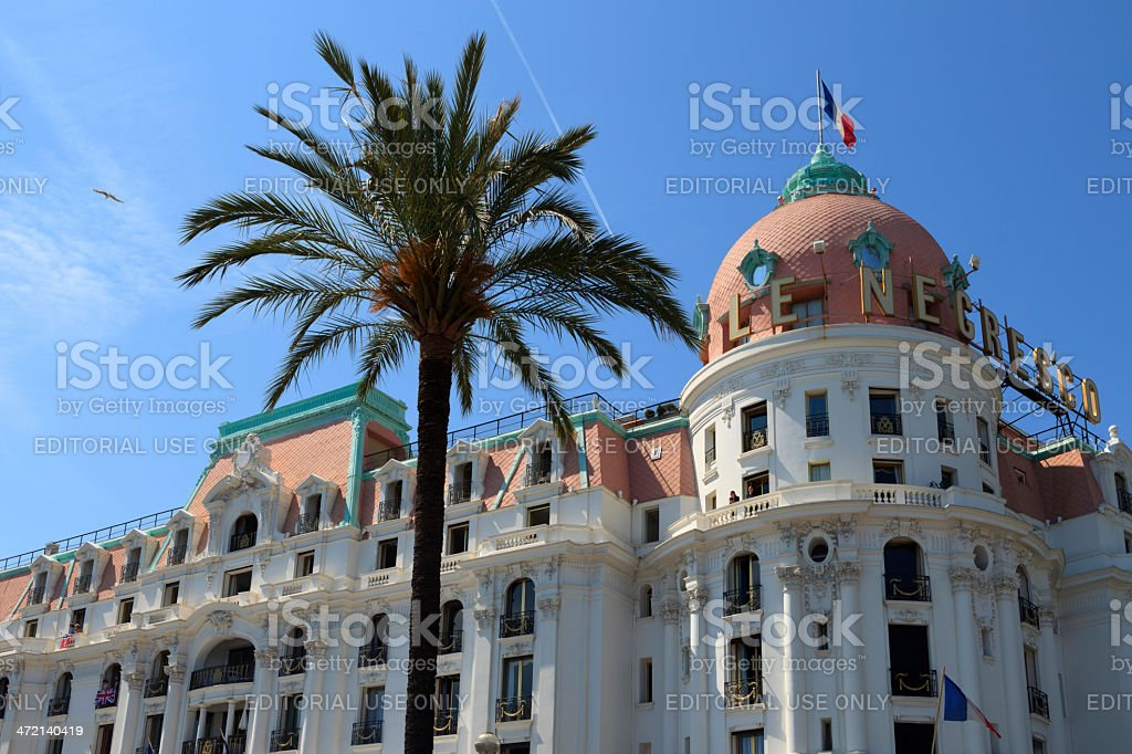 facade of the famous Le Negresco Hotel in Nice stock photo