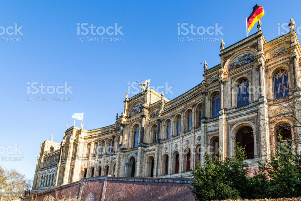 facade of the famous maximilianeum at munich stock photo