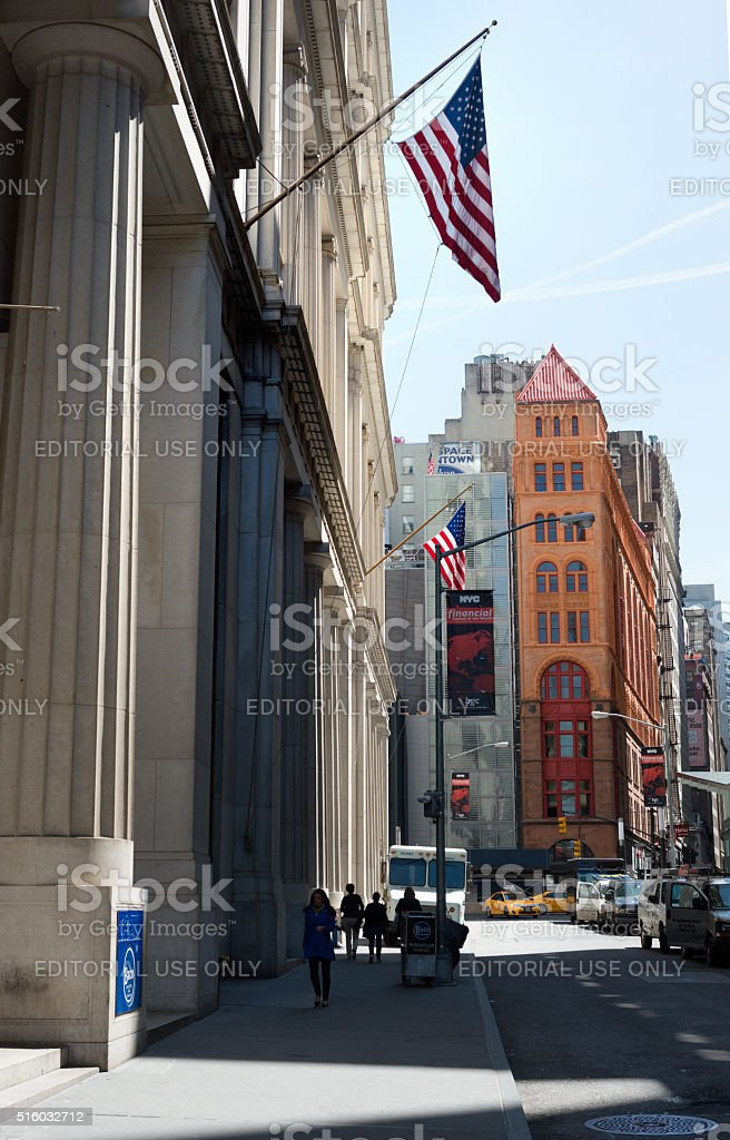 Facade of the Federal Hall Wall Street , New York stock photo