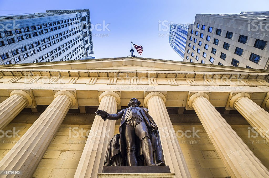 Facade of the Federal Hall Wall Street stock photo