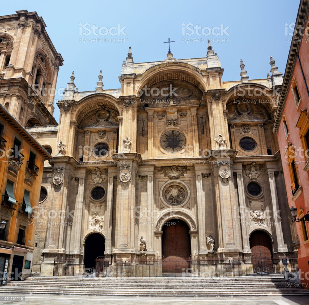 Facade of the Granada Cathedral stock photo