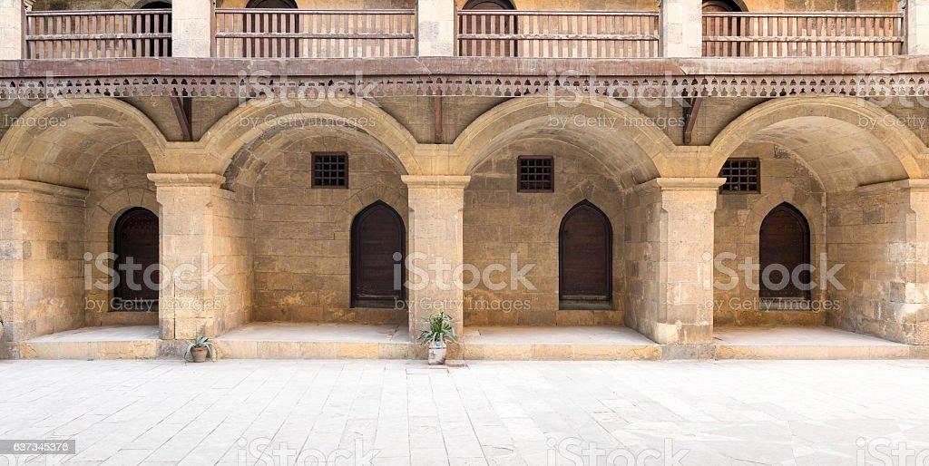 Facade of the ground floor of caravansary (Wikala) of Bazaraa stock photo