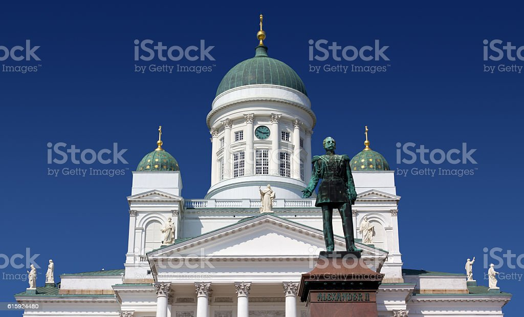 Facade of the Helsinki Cathedral stock photo