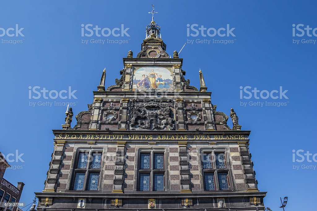 Facade of the historical weigh house in Alkmaar stock photo